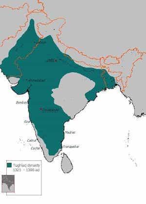 Map of Tughlaq Dynasty